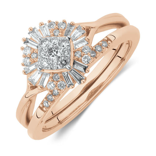 Evermore Bridal Set with 0.37 Carat TW of Diamonds in 10ct Rose Gold