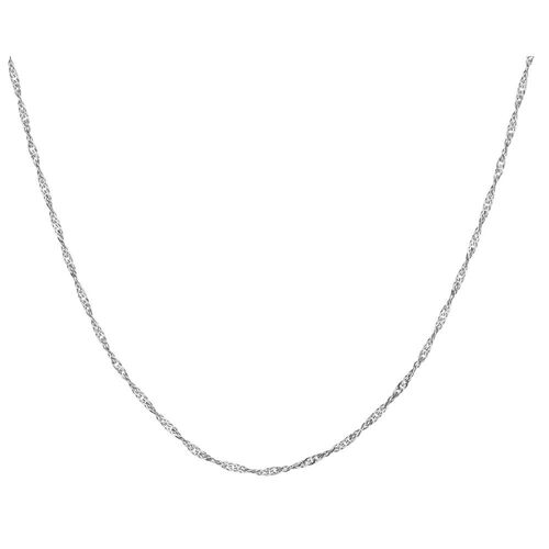 "60cm (24"") Hollow Singapore Chain in 10ct White Gold"