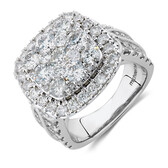 Cluster Halo Ring with 4 Carat TW of Diamonds in 10ct White Gold