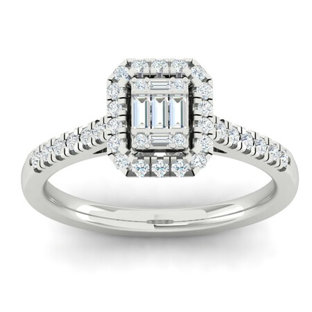 Cluster Ring with 1/2 Carat TW of Diamonds in 10ct White Gold
