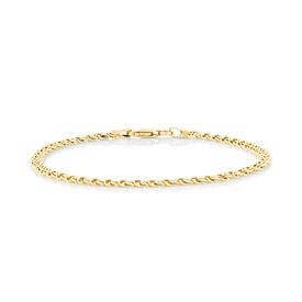 "18cm (7.1"") Fancy Double Link Bracelet in 14ct Yellow Gold"