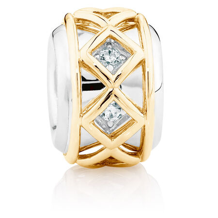 Cubic Zirconia Set, 10ct Yellow Gold & Sterling Silver Charm