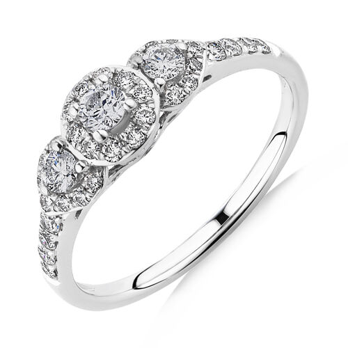 Evermore Three Stone Engagement Ring with 0.50 Carat TW of Diamonds in 10ct White Gold