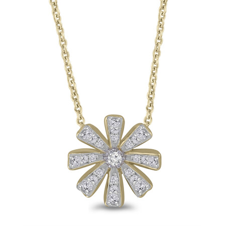 Flower Pendant with 0.12 Carat TW of Diamonds in 10ct Yellow Gold