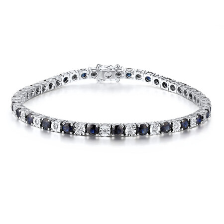 Tennis Bracelet with Natural Sapphire & 0.55 Carat TW of Diamonds in 10ct White Gold