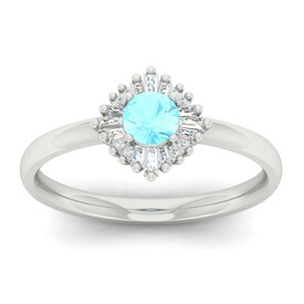 Ballerina Ring with Aquamarine & Diamond in 10ct White Gold
