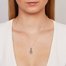 Pendant with Blue Topaz & Diamonds in 10ct White Gold