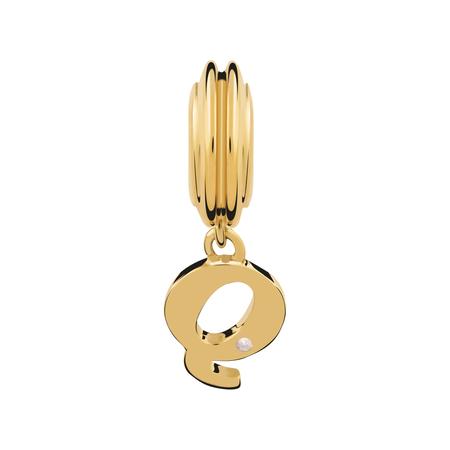Diamond Set & 10ct Yellow Gold 'Q' Charm