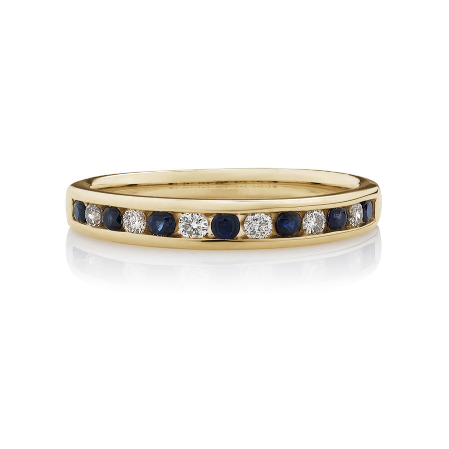 Ring with Natural Sapphire & 0.15 Carat TW of Diamonds in 10ct Yellow Gold