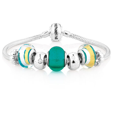 """Online Exclusive - Green Glass & Sterling Silver 19cm (7.5"""") Charm Bracelet"""