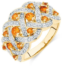 Ring with Created Orange Sapphires & 0.20 Carat TW of Diamonds in 10ct Yellow Gold