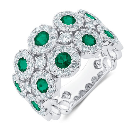 Ring with 1 Carat TW of Diamonds & Natural Emeralds in 14ct White Gold