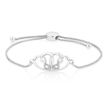 Infinitas Bracelet with Diamonds in Sterling Silver