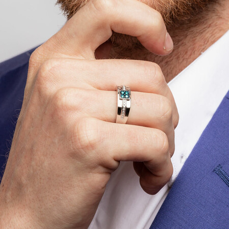 Men's Ring with 1/4 Carat TW of White & Enhanced Blue Diamonds in 10ct White Gold