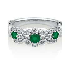 Ring with Emerald & 0.34 Carat TW of Diamonds in 10ct White Gold