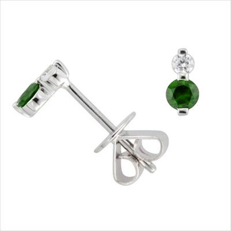 Stud Earrings with Diamond & Natural Emerald in 10ct White Gold