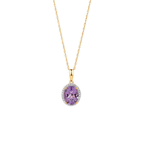 Pendant with Amethyst & Diamonds in 10ct Yellow Gold