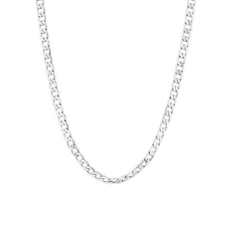 "55cm (22"") Men's Curb Chain in 10ct White Gold"