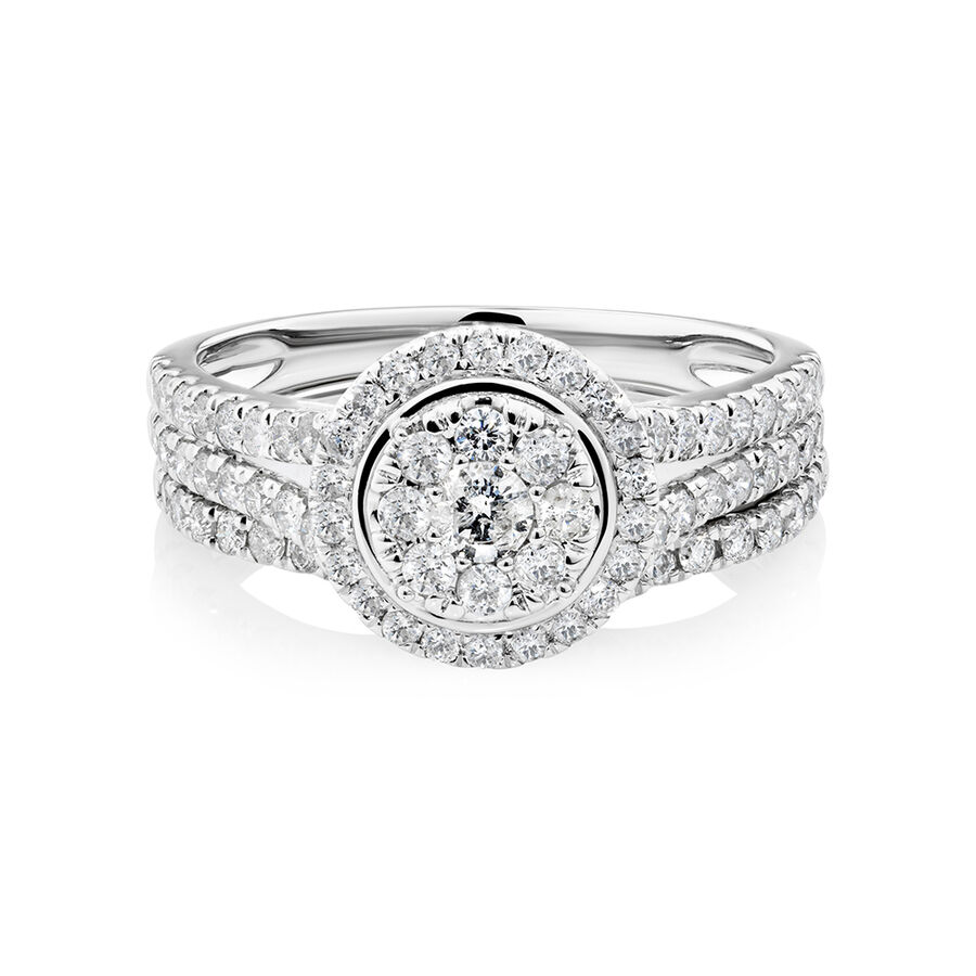 Bridal Set With 1 Carat of Diamonds In 10ct White Gold