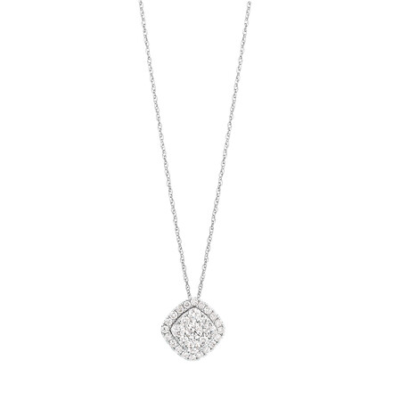 Cluster Pendant with 1 Carat TW of Diamonds in 10ct White Gold