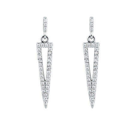 Triangle Drop Earrings With Cubic Zirconia in Sterling Silver