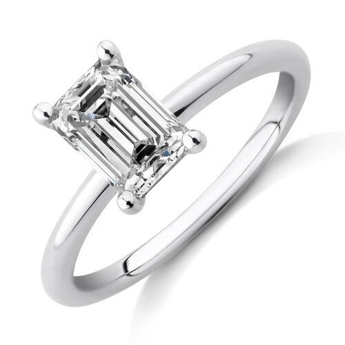 Laboratory-Created 1.25 Carat Emerald Cut Diamond Ring In 14ct White Gold