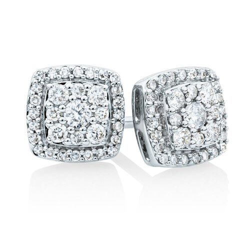 Stud Earrings With 0.34 Carat TW Of Diamonds In 10ct White Gold