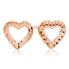 Heart Stud Earrings in 10ct Rose Gold
