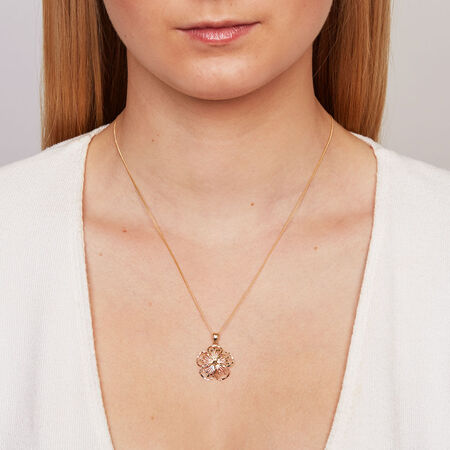 Flower Pendant in 10ct Yellow, White & Rose Gold