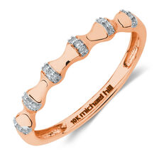 Bamboo Stacker Ring With Diamonds in 10ct Rose Gold