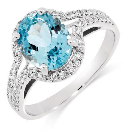 Ring with Aquamarine & 1/4 Carat TW of Diamonds in 10ct White Gold