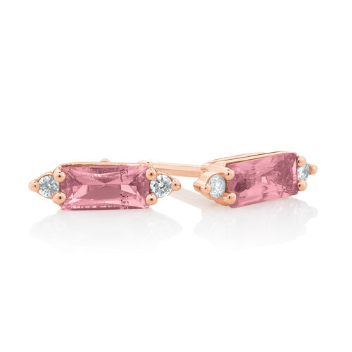 Earrings with Diamonds & Pink Tourmaline in 10ct Rose Gold