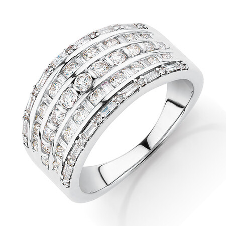 Multi Row Ring with 1 Carat TW of Diamonds in 10ct White Gold