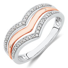 Ring with 0.15 Carat TW of Diamonds in 10ct White and Rose Gold