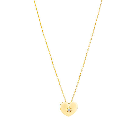 Heart Pendant with Diamonds in 10ct Yellow Gold