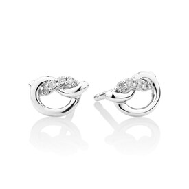 Mini Knot Stud Earrings with Diamonds in Sterling Silver