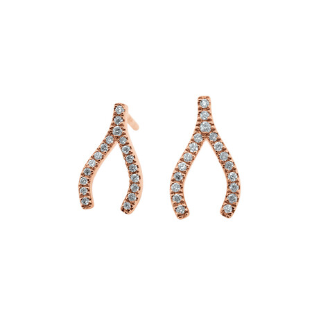 Wishbone Stud Earrings with Diamonds in 10ct Rose Gold