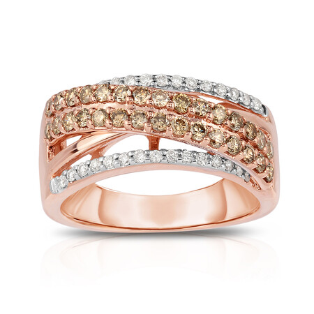 Ring with 0.90 Carat TW of White & Brown Diamonds in 10ct Rose & White Gold