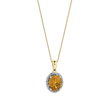 Pendant with Created Yellow Sapphire & Diamonds in 10ct Yellow & White Gold