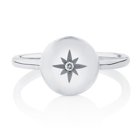 Star Mini Signet Ring With Diamond In Sterling Silver