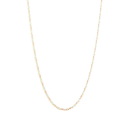 """50cm (20"""") Solid Chain in 10ct Yellow, Rose & White Gold"""