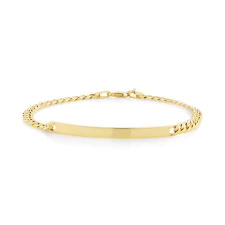 """21cm (8.5"""") Flat Curb ID Bracelet in 10ct Yellow Gold"""