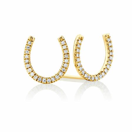 Horseshoe Stud Earrings With Diamonds In 10ct Yellow Gold