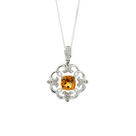 Online Exclusive - Pendant with Diamonds & Citrine in 14ct White Gold