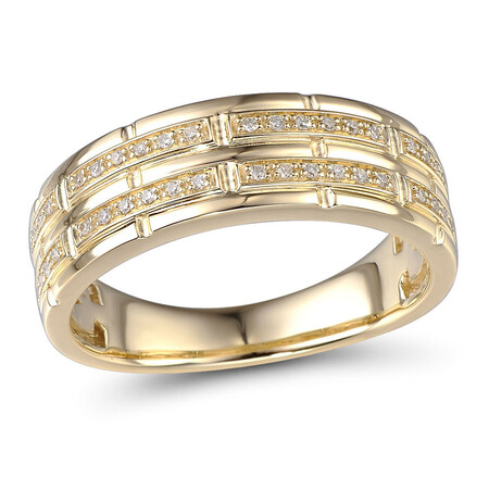 Ring with 0.12 Carat TW of Diamonds in 10ct Yellow Gold
