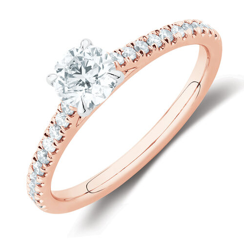 Solitaire Engagement Ring with 1/2 Carat TW of Diamonds in 14ct Rose & White Gold