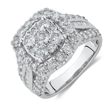 Engagement Ring with 2 1/2 Carat TW of Diamonds in 14ct White Gold