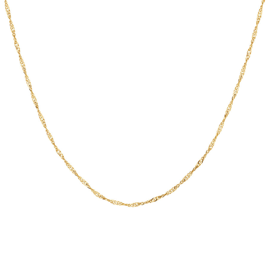 """50cm (20"""") Hollow Singapore Chain in 10ct Yellow Gold"""