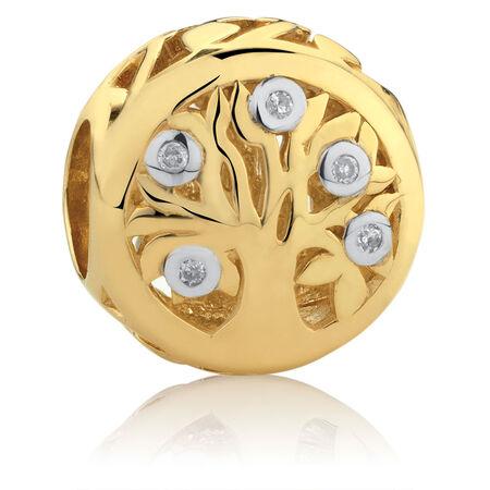 Diamond Set Tree of Life Charm in 10ct Yellow Gold