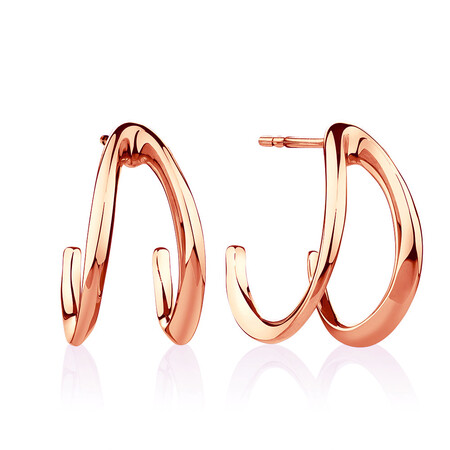 Small Mark Hill Huggie Earrings in 10ct Rose Gold